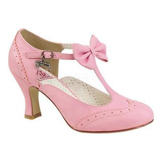 Women's Pin Up Flapper 11 T-Strap Mary Jane Pink Faux Leather