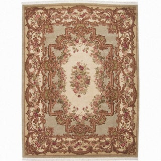 Nourison Hand Knotted Light Green/ Taupe Area Rug - 5'9 x 8'9