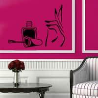 Girl Hand Spa Decor Nails Design Beauty Salon Vinyl Sticker Home Decor Art Wall Decor Sticker Decal size 44x60 Color Black