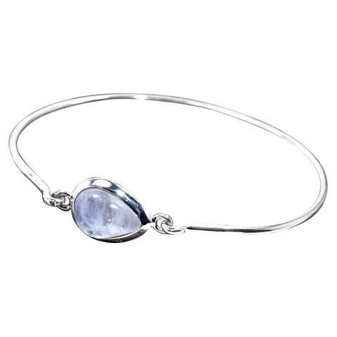 Handmade Sterling Silver Rainbow Moonstone Bangle (India) - White