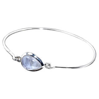 Handmade Sterling Silver Rainbow Moonstone Bangle Bracelet (India)