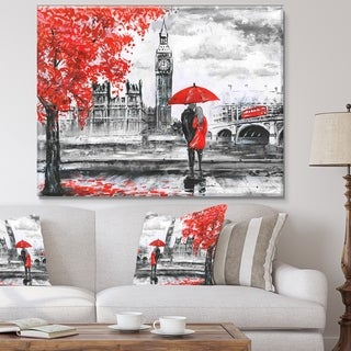 Designart 'Couples Walking in London' Extra Large Landscape Canvas Art Print