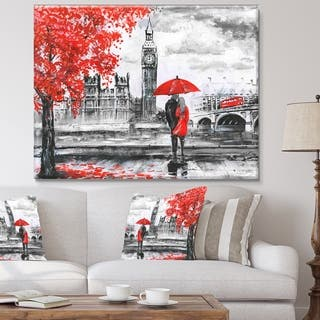 Designart 'Couples Walking in London' Extra Large Landscape Canvas Art Print - Multi-color