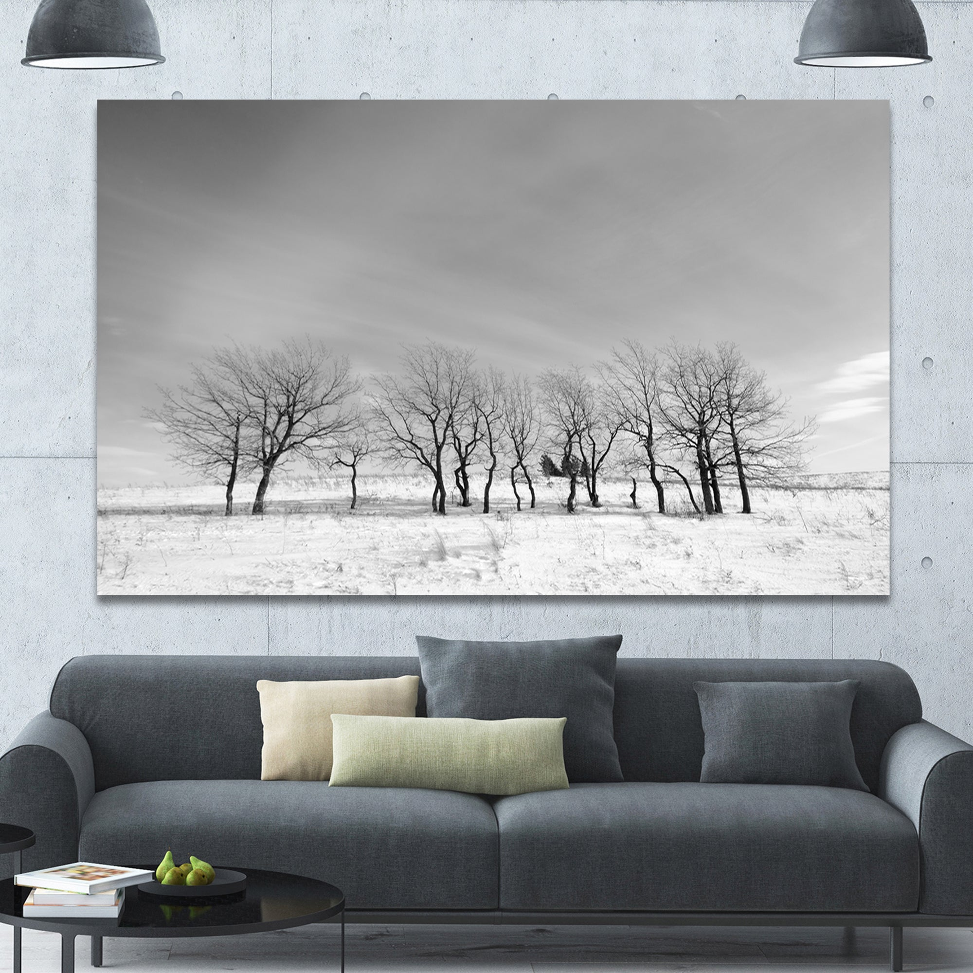 Black And White Large Poster /& Canvas Pictures Winter Trees Field Contemporary