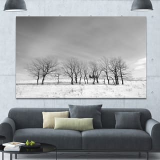 Design Canvas Art Print 'Black and White Trees in Winter' Extra Large Landscape Canvas Art Print - Black