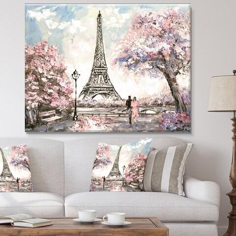 Designart Eiffel with Pink Flowers Landscape Canvas Art Print