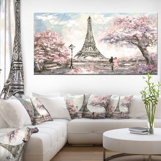Designart 'Eiffel with Pink Flowers' Extra Large Landscape Canvas Art Print