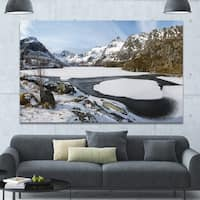 Designart 'Winter in Lofoten Islands' Extra Large Landscape Canvas Art Print - Multi-color