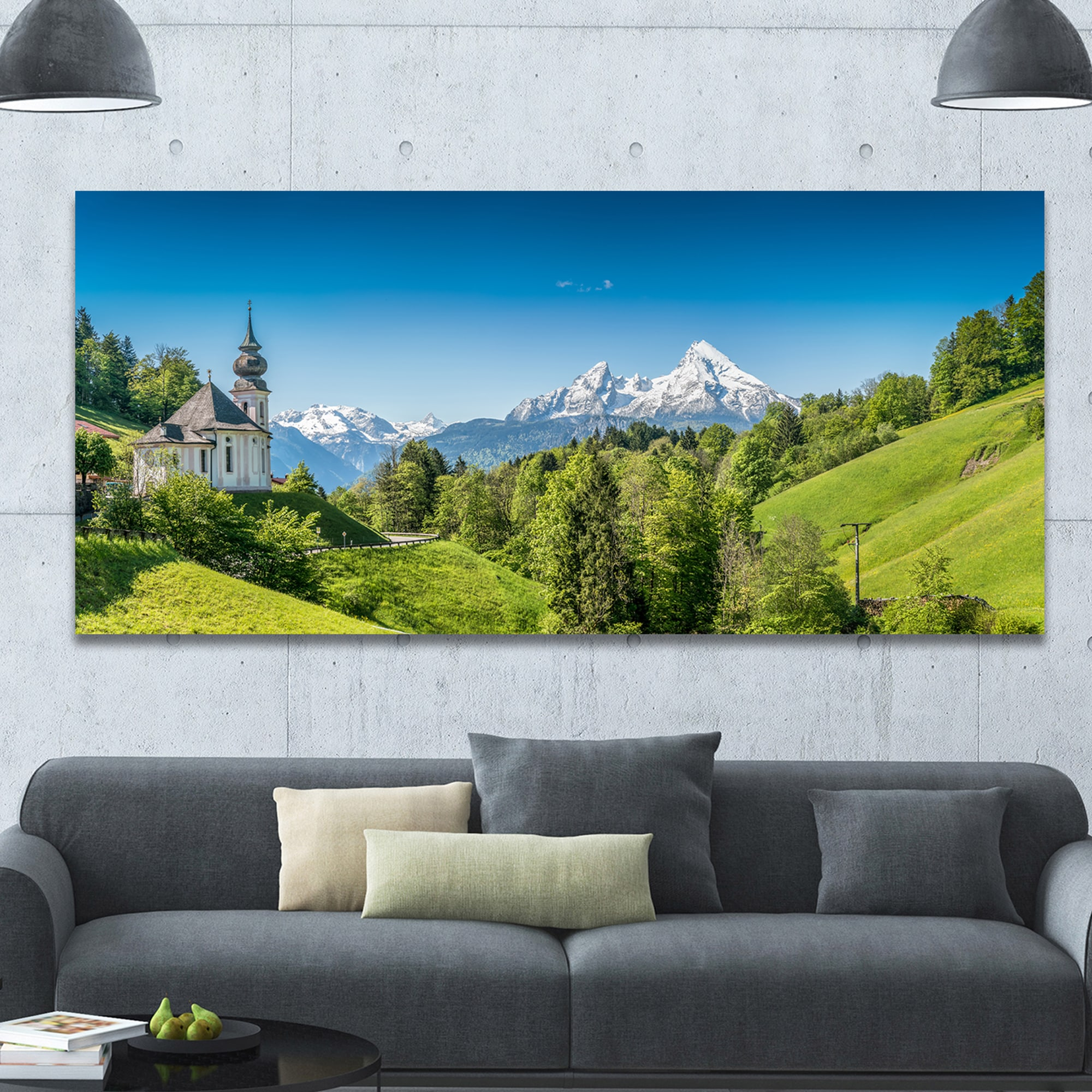 Design Canvas Art Print Green Mountain View Of Bavarian Alps Extra Large Landscape Canvas Art Print Green Overstock 14557539