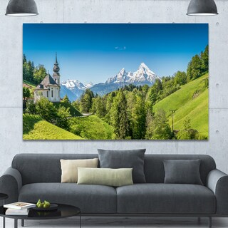 Design Canvas Art Print 'Green Mountain View of Bavarian Alps' Extra Large Landscape Canvas Art Print