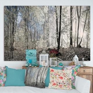 Designart 'Dark Morning in Forest Panorama' Landscape Large Canvas Art Print - Grey