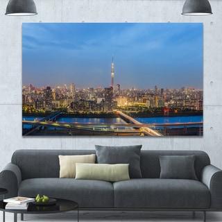 Designart 'Tokyo City View Panorama' Extra Large Landscape Canvas Art Print - Blue