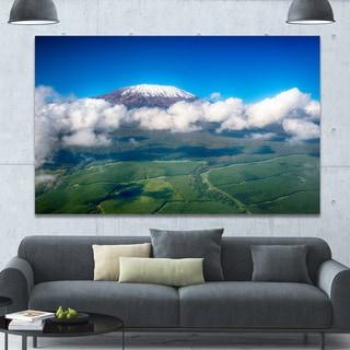 Designart 'Aerial View of Mount Kilimanjaro' Extra Large Landscape Canvas Art Print - Blue