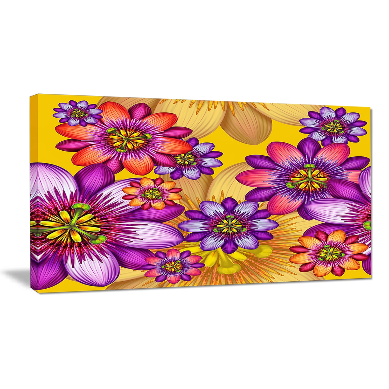 Shop Black Friday Deals On Designart Passion Flowers Pattern Modern Floral Large Canvas Art Multi Color Overstock 14557588