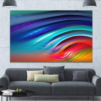 Designart 'Beautiful Fractal Rainbow Waves' Extra Large Floral Canvas Art Print