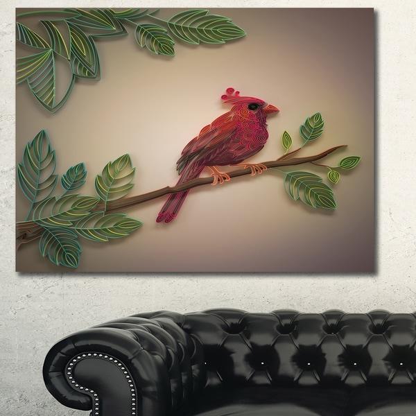 Designart X27Red Paper Quilling Of Cardinal Birdx27 Modern Floral