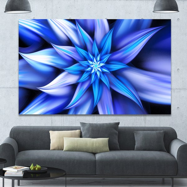 Designart 'Dancing Blue Flower Petals' Extra Large Floral Canvas Art Print