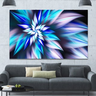 Designart 'Dancing Light Blue Flower Petals' Extra Large Floral Canvas Art Print