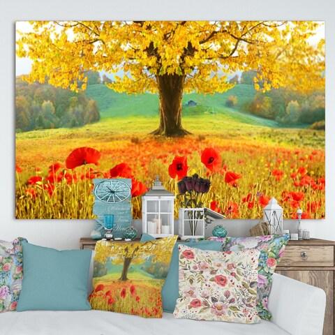 DesignArt 'Beautiful Autumn Yellow Tree' Modern Floral Large Canvas Art