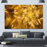 Designart 'Exotic Dance of Golden Flower Petals' Extra Large Floral Canvas Art Print - GOLD
