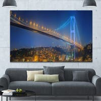 Designart 'Bosphorus Bridge at Night Istanbul' Extra Large Landscape Canvas Art Print - Multi-color