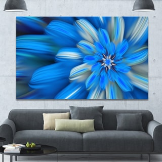 Designart 'Exotic Dance of Blue Flower Petals' Extra Large Floral Canvas Art Print