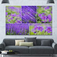 Designart 'Blue Spring Flowers Collage' Modern Floral Large Canvas Art - Blue