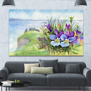 Designart 'Spring Violet Flowers on Mountain' Floral Canvas Wall Art