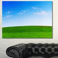 Designart 'Green Meadow Panorama' Large Landscape Canvas Art Print - Green