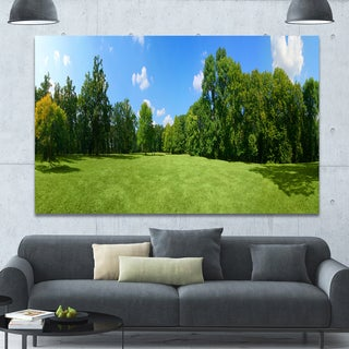 Designart 'Green City Park Panorama' Extra Large Landscape Canvas Art Print - Multi
