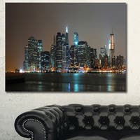 Designart 'Evening New York Panorama' Cityscape Canvas Wall Art - Multi-color