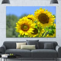 Designart 'Beautiful Sunflowers View' Floral Canvas Wall Art - Multi-color