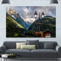 Designart 'Lamp Posts in Mountain Panorama' Extra Large Landscape Canvas Art Print - Multi-color