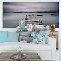 Designart 'Pier and Boats at Seashore' Bridge and Pier Canvas Wall Art