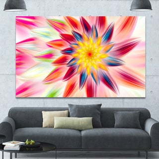 Designart 'Pink Dancing Flower Petals' Extra Large Floral Canvas Art Print - Multi