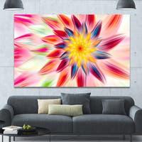 Designart 'Pink Dancing Flower Petals' Extra Large Floral Canvas Art Print - Pink