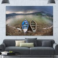 Designart 'Two Boats near Pokhara Lake' Boat Canvas Wall Art