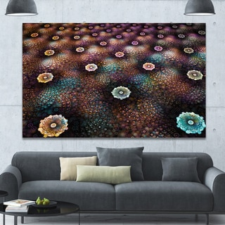 Designart 'Brown Flowers on Alien Planet' Floral Canvas Wall Art - Brown