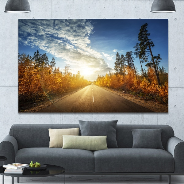 Designart 'Road in Fall Forest Panorama' Extra Large Landscape Canvas Art Print - Multi