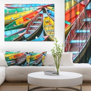 Designart 'Rowing Boats on the Lake in Pokhara' Boat Wall Artwork on Canvas