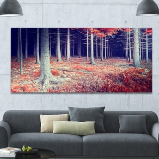 Designart 'Beautiful Fall Forest Panorama' Extra Large Landscape Canvas Art Print - Red