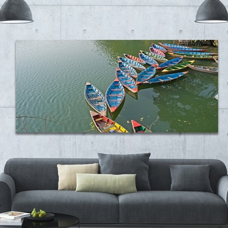 Designart 'Phewa Lake in Pokhara Nepal' Boat Wall Artwork on Canvas - Blue