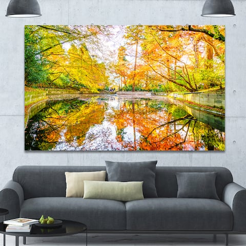 Designart 'Bright Fall Forest with River' Extra Large Landscape Canvas Art Print - Multi-color