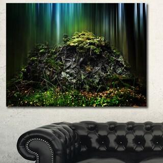 Designart 'Dark Forest on Snowy Morning' Large Landscape Canvas Art Print