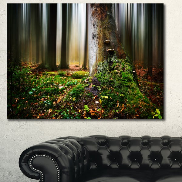 Designart 'Green Forest on Snowy Morning' Large Landscape Canvas Art Print - Green