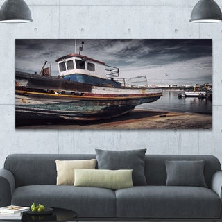 Designart 'Old Fishing Boat' Boat Wall Artwork on Canvas - Grey