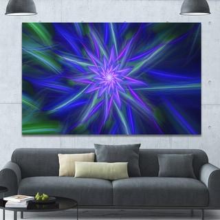 Designart 'Shining Blue Exotic Fractal Flower' Extra Large Floral Canvas Art Print