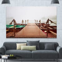 Designart 'Boats in Mysterious Fog' Boat Wall Artwork on Canvas