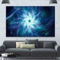 Designart 'Splaying Bright Blue Fireworks' Floral Wall Art on Canvas