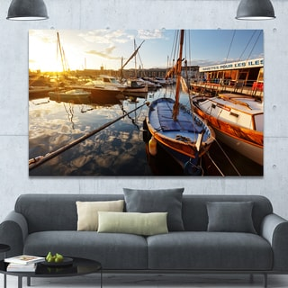 Designart 'Yachts at Sea Port of Marseille' Boat Wall Artwork on Canvas